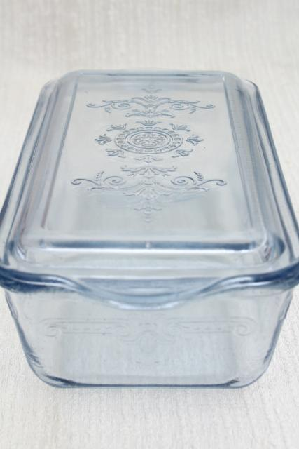 Vintage Sapphire Blue Fire King Philbe Pattern Glass Loaf