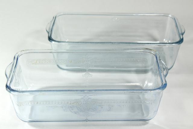 vintage sapphire blue Philbe Fire King oven ware glass loaf or bread baking pan set