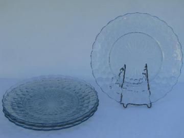 vintage sapphire blue bubble dinner plates, Anchor Hocking depression glass
