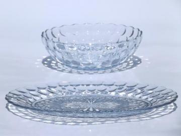 vintage sapphire blue bubble pattern glass, serving bowl & oval platter