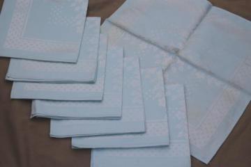 vintage satin damask napkins w/ original labels, ice blue pastel cotton / rayon napkins
