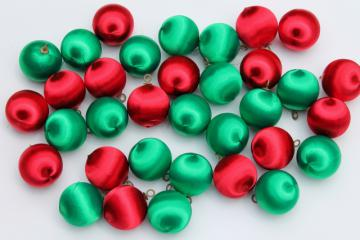 vintage satin sheen balls Christmas tree ornaments, red & green holiday decorations
