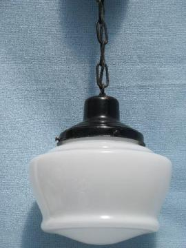 vintage schoolhouse pendant light fixture, original hardware, glass shade