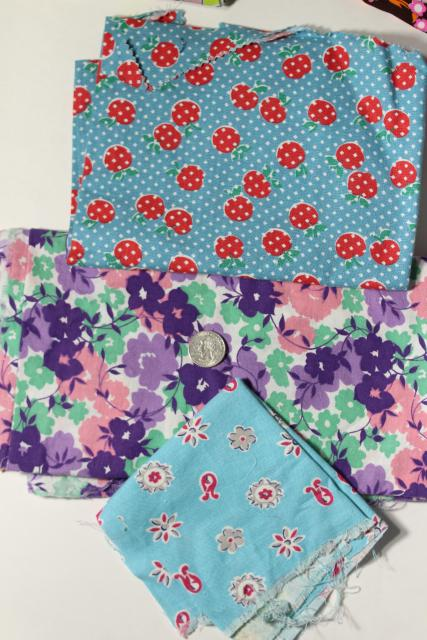 vintage scraps lot, print cotton florals & feedsack prints for charm quilts patchwork