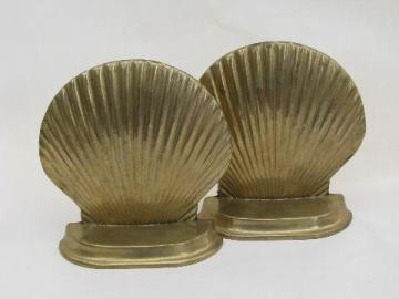 vintage seashell book ends bookends sea shells, all brass