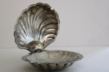 vintage seashell shape covered butter dish, silver plate w/ glass liner scallop shell