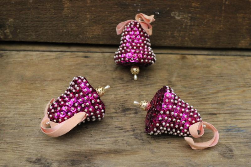 vintage sequined bells handmade tree ornaments, retro magenta pink Christmas!