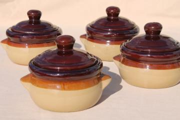 vintage set individual casseroles or covered bowls, brown band stoneware made in Japan