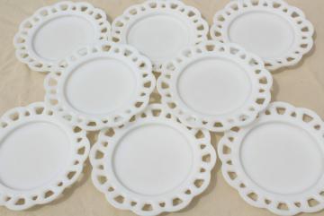 vintage set lace edge milk glass salad or dessert plates, open work border for ribbon