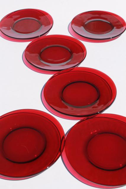 & vintage set of 6 ruby red glass bread \u0026 butter or dessert plates