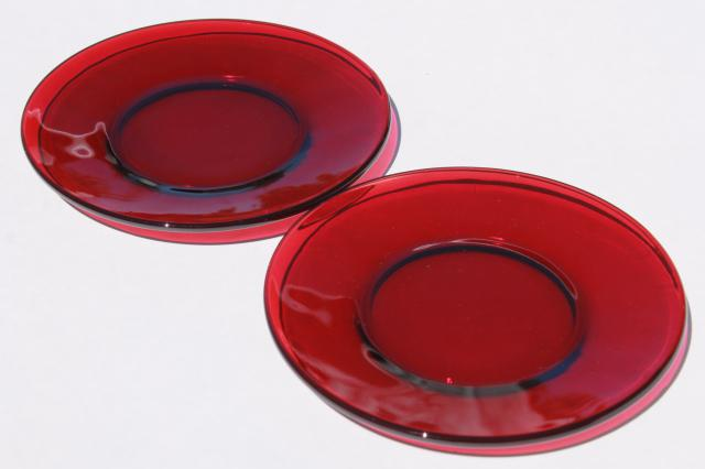 vintage set of 6 ruby red glass bread \u0026 butter or dessert plates & set of 6 ruby red glass bread \u0026 butter or dessert plates