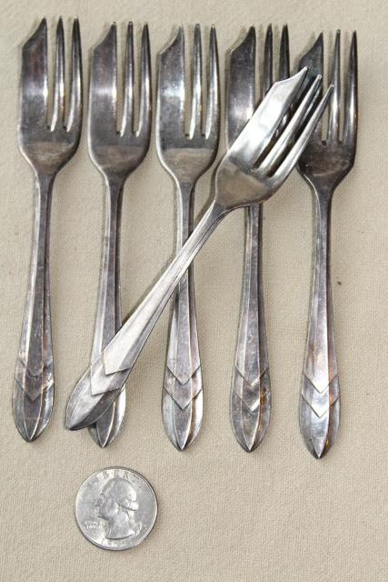 & vintage set of silver plate pastry forks Sheffield England EPNS plated