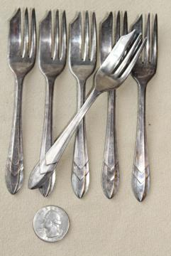 vintage set of silver plate pastry forks, Sheffield England EPNS plated