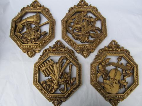 vintage set ornate gold wall plaques, antique musical instruments