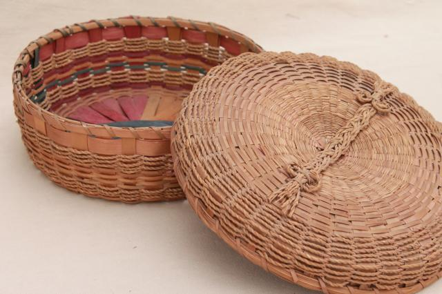 vintage sewing basket, natural color twisted rope texture rush woven reed basket