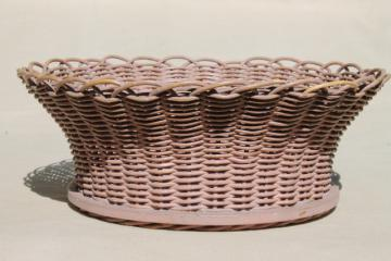 vintage sewing basket, pretty cottage style wicker basketweave bowl w/ shabby paint