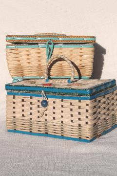 vintage sewing baskets, blue & white wicker weave sewing box lot, shabby chic