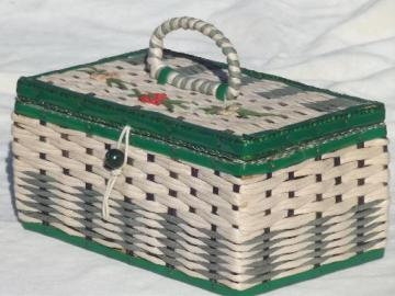 vintage sewing box, 40s 50s cottage style green & white box basket