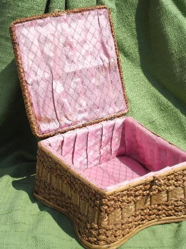 vintage sewing box, rattan and woven sea grass basket, pink cloth lining