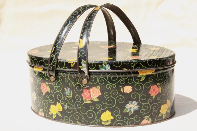 vintage sewing box tin w/ handles, flowered chintz print tole sewing basket