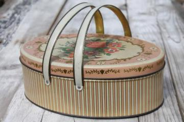 vintage sewing box tin, lovely old flowered tin oval basket w/ handles