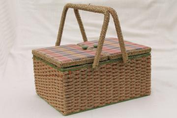 vintage sewing box, wicker woven raffia & madras plaid cotton sewing basket