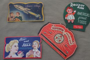 vintage sewing needle books lot, old advertising w/ Raggedy Ann, Space Ship etc.