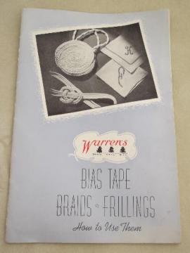 vintage sewing notions booklet, Warren's bias tape and frillings ideas