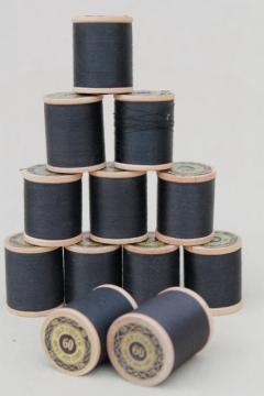 vintage sewing notions, new old stock 12 reels black cotton thread wood spools
