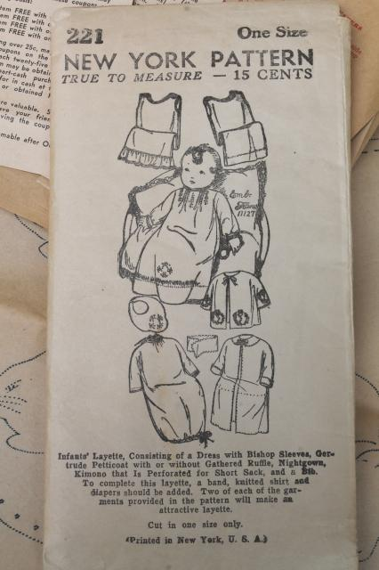 vintage sewing pattern, 1930s infant layette w/ transfers - nice for ...