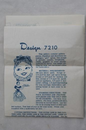 vintage sewing pattern w/ embroidery transfer for Mammy kitchen cook apron