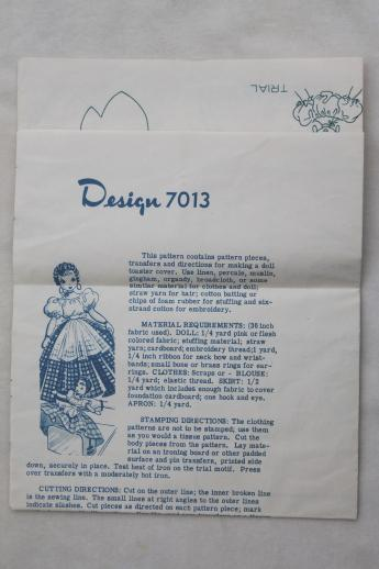 vintage sewing pattern w/ embroidery transfer to make rag doll ...