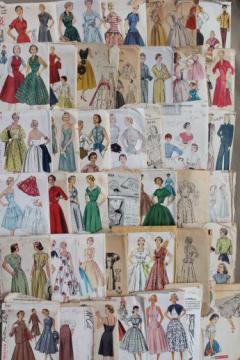 vintage sewing patterns lot, 1930s 40s 50s dresses, lingerie, ladies separates