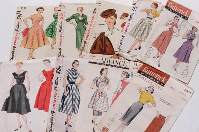 vintage sewing patterns lot - 1940s 50s and early 60s dresses ...