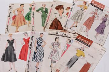 vintage sewing patterns lot - 1940s 50s and early 60s dresses, accessories