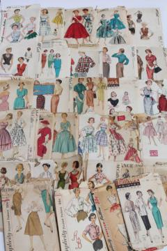 vintage sewing patterns lot - 1940s 50s and early 60s dresses, skirts & tops