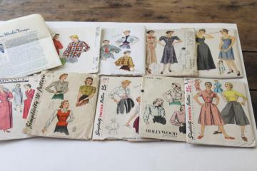 vintage sewing patterns lot, 1940s 50s dresses, slip & robe, coat, jacket & hat