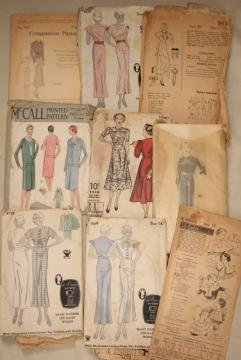 vintage sewing patterns lot, 20s 30s dresses, movie star stylish gowns, fashion accessories