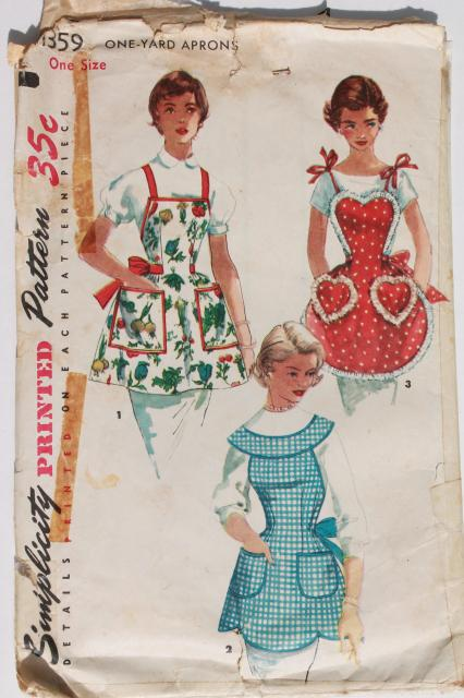 Vintage Sewing Patterns Lot 40s 50s 60s Kitchen Aprons Retro Hostess Apron Styles