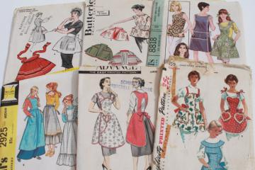 vintage sewing patterns lot, 40s 50s 60s kitchen aprons, retro hostess apron styles