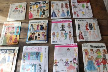 vintage sewing patterns lot, 60s 70s 80s 90s fashion doll clothes for Barbie, Skipper