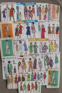 vintage sewing patterns lot, 60s 70s mod dresses & mini skirt dresses, pants