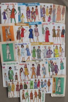 vintage sewing patterns lot, 60s 70s mod dresses & mini skirt dresses, pants