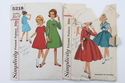vintage sewing patterns lot, 60s retro girls dresses in plus sizes ...