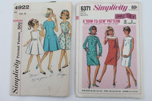 Vintage Sewing Patterns Lot 60s Retro Girls Dresses In Plus Sizes