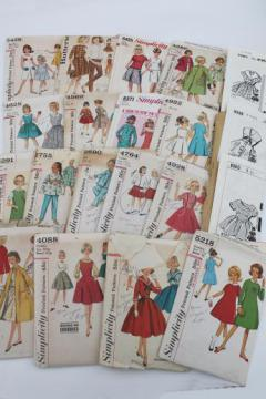 vintage sewing patterns lot, 60s retro girls dresses in plus sizes 'chubbies'