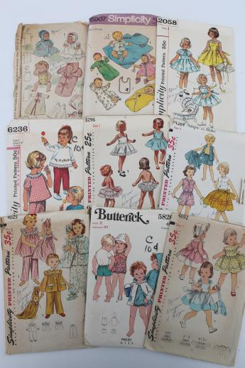 Vintage Sewing Patterns Lot 60s Toddler Girl Baby Dresses Slips Sunsuits