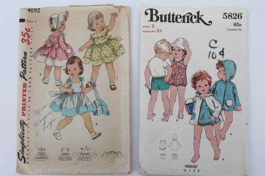 Vintage Sewing Patterns Lot 60s Toddler Girl Baby Dresses Slips Sunsuits