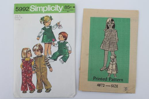 vintage sewing patterns lot, 70s children\'s clothes - retro jumpers ...