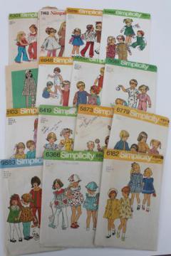 vintage sewing patterns lot, 70s children's clothes - retro jumpers, dresses, sunsuits